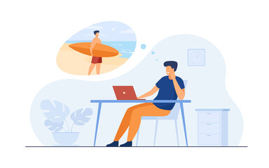 Office manager dreaming about vacation at sea flat vector illustration. Cartoon business person relaxing during job and thinking about surfing. Holiday and work concept