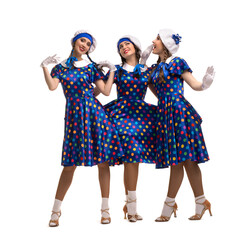 Happy female models in dotted retro dresses
