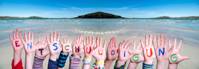 Children Hands Building Colorful German Word Entschuldigung Means Apology. Ocean And Beach As Background