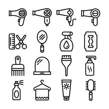 Hair Salon Line Vector Icons Set