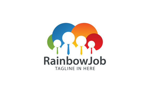 Job seekers logo forming clouds in colorful color