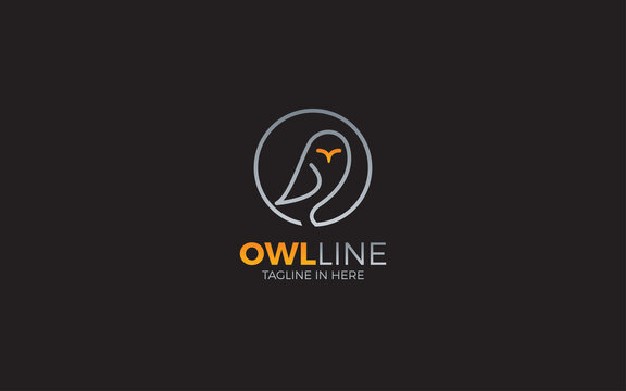 Owl logo formed with simple and modern lines