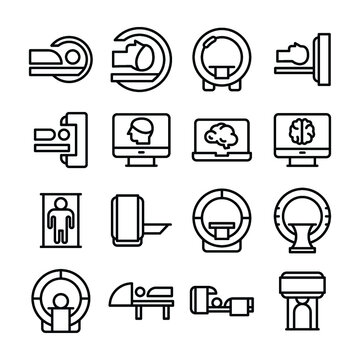 Set of  Ct Scan Line Vector Icons