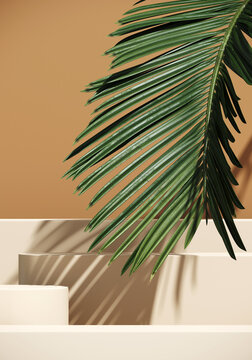 Minimal cosmetic background for product presentation. Beige podium and green palm leaf on brown background. 3d render illustration. Object isolate clipping path included.