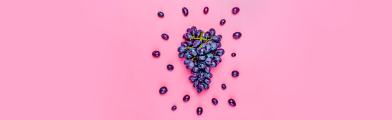 Natural organic black juicy grapes on a trend pink millennial background Top View Flat Lay Banner