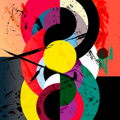 abstract circle background, retro/vintage style with paint strokes and splashes, grungy