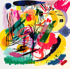 abstract background illustration, composition with paint strokes, splashes and lines