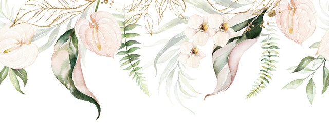 Green tropical leaves and blush flowers on white background. Watercolor hand painted seamless border. Floral tropic illustration. Jungle foliage pattern. - fototapety na wymiar