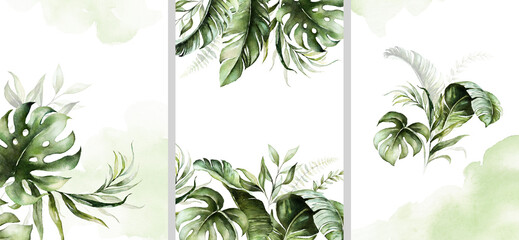 Watercolor tropical floral templates set - bouquet, frame, border. Green leaves. For wedding stationary, greetings, wallpapers, fashion, background.