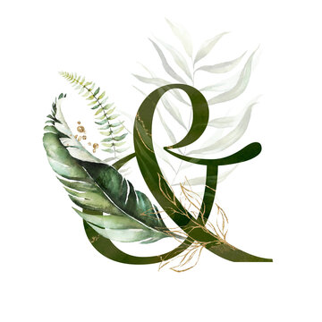 Tropical Green Gold Floral Alphabet