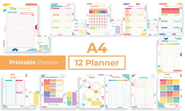 Minimalist colorfull planner pages templates collection set of vector paper A4 Ai, EPS 10 design
