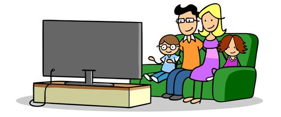 Keuken foto achterwand Dinosaurs Familie mit zwei Kindern beim Fernsehen vor TV Fernseher