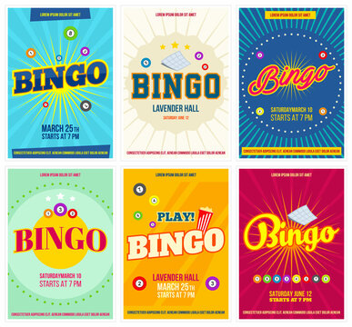 Bingo lottery posters set. Background game templates with balls for invitations, cards, ad and more. Retro. Vector