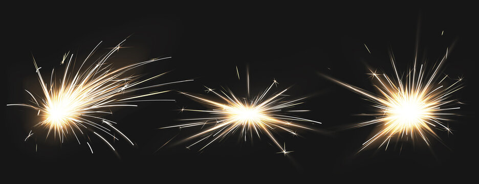 Weld sparks isolated on black background. Vector realistic flare effect of metal welding, iron cutting, fireworks or electric flash. Set of light flashes of industrial works with steel or firecrackers