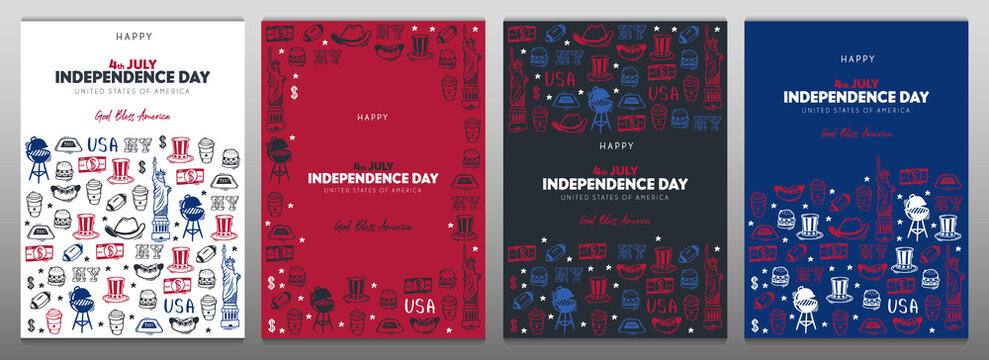 4th July Banner. Independence day of USA. Hand draw doodle background.