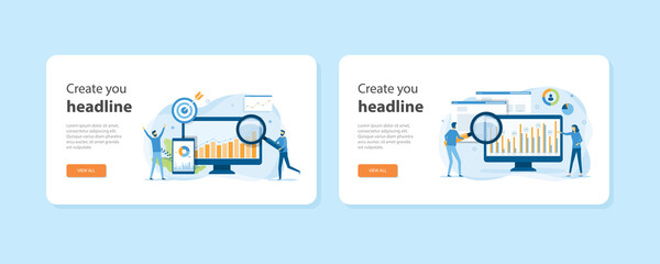 Set of flat design web landing page templates of business digital marketing concept, web analytics, website building, page promotion, email, mobile advertising, traffic analytics, and market research