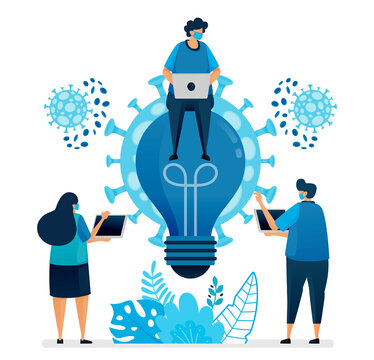 Vector illustration of business ideas and brainstorming to solve business problems at covid-19 pandemic and new normal. Design can be used for landing page, website, mobile app, poster, flyers, banner