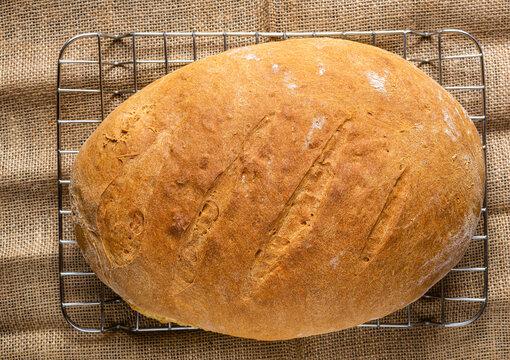 Chleb własnej roboty. Zdjecie z gory.  Domowe wypieki. Wyrob z maki pszennej. Smacznie i zdrowo. Swieze pieczywo na stole w kuchni. Dla wegetarian.