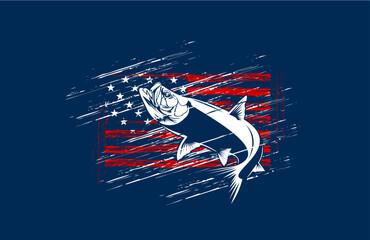 Tarpon fishing on usa flag vector illustration