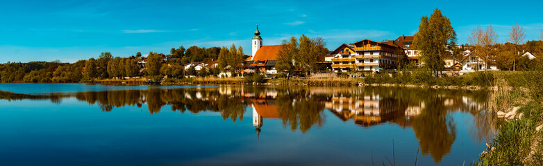 High resolution stitched panorama of a beautiful spring view with reflections at Windorf, Danube, Bavaria, Germany