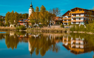 Beautiful spring view with reflections at Windorf, Danube, Bavaria, Germany