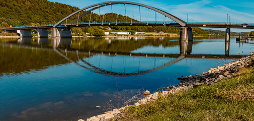 Beautiful spring view with reflections and a bridge at Vilshofen, Danube, Bavaria, Germany