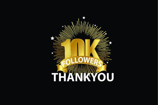 10K,10.000 Followers anniversary, minimalist logo years, jubilee, greeting card. invitation. Sign Ribbon Gold space vector illustration on black background - Vector