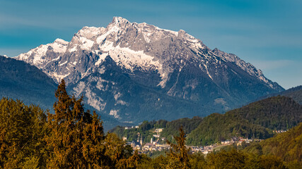Beautiful alpine spring view of Berchtesgaden, Bavaria, Germany with the famous Hochkalter summit in the background