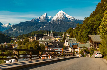 Beautiful alpine spring view of Berchtesgaden, Bavaria, Germany with the famous Watzmann summit in the background