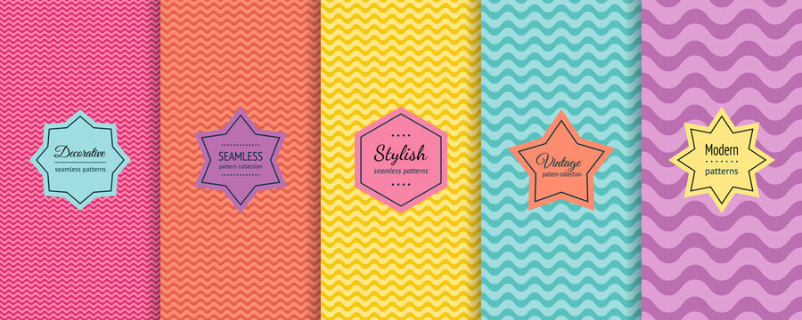 Vector wave seamless patterns collection. Set of colorful background swatches with elegant minimal labels. Abstract textures with wavy lines, curves. Pink, orange, yellow, turquoise, purple color