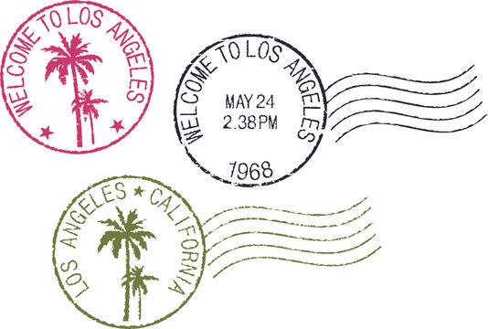 Set of postal grunge stamps 'Los Angeles'. Red, black and green color