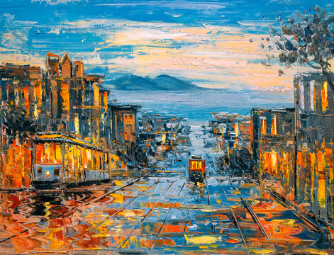 Oil Painting - Cable Car, San Francisco