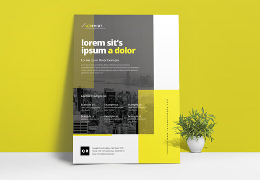 Conference Business Flyer Layout with Black Yellow Accent