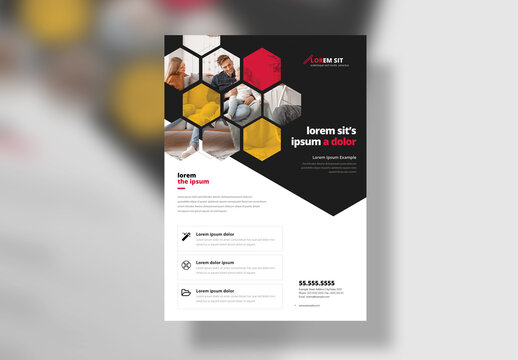 Hexagon Business Flyer Layout with Red Accent