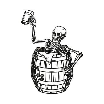 Skeleton sitting in beer wooden barrel