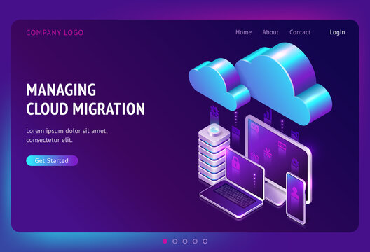 Digital data migration isometric landing page, cloud computing, media server, saas service for private information and files storage, gadgets connected in network system, web hosting 3d vector banner