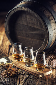 Glencairn tasting whiskey cups with wooden barrel, peat and barley next to them