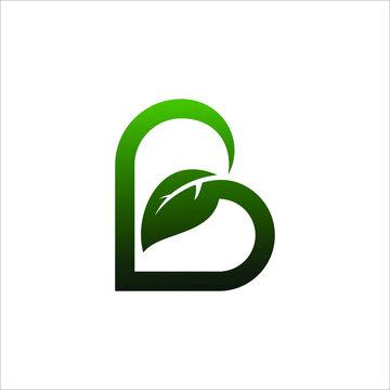 leaf logo that formed letter B, vector design template