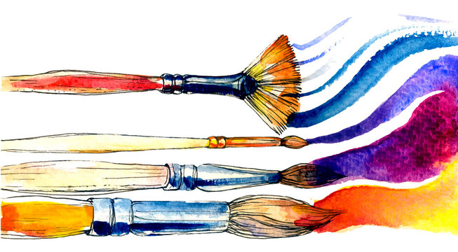 Watercolor brushes on white backdrop. Colorful art vector set
