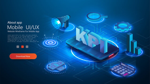 KPI business performance strategy and analysis. Provides the main points of the KPI Can use for web banner, infographics. Flat 3d isometric vector illustration isolated on blue background