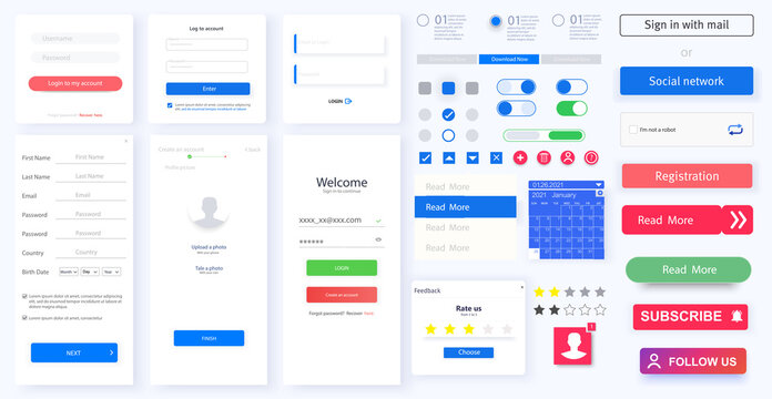 Modern responsive mobile app or website GUI,UI,UX layout including Login, create account, Profile. Web design widget  collection buttons, switches,ratings,mobile application with light theme interface