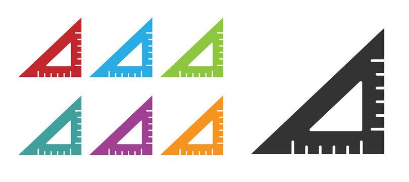 Black Triangular ruler icon isolated on white background. Straightedge symbol. Geometric symbol. Set icons colorful. Vector Illustration