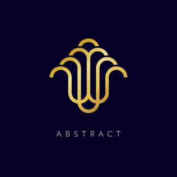 linear vector abstract water fountain Logo illustration design.