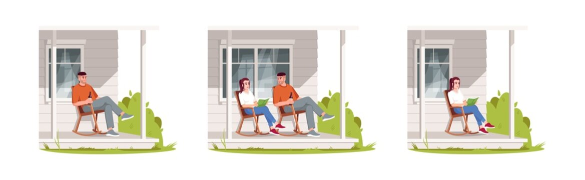 People relax on patio during daytime semi flat RGB color vector illustration set. Man and woman sit in armchair. Girl read in chair. Family isolated cartoon characters pack on white background