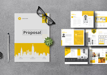 Project Proposal Layout with Yellow Accents