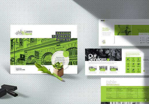 Corporate Landscape Profile Brochure Green Layout
