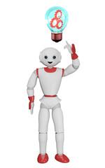 humanoider Roboter zeigt auf eine Glühbirne mit Zahnrädern. 3d rendering