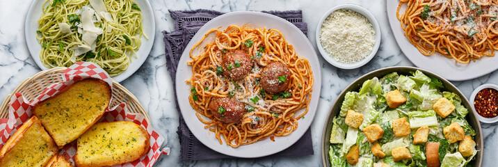 Fototapeta italian pasta with spaghetti and meatballs