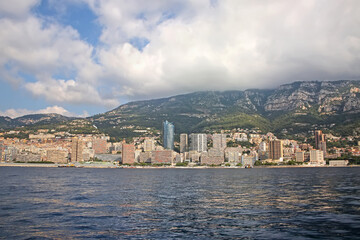 View from the sea of the Principality of Monaco, which is a sovereign city, state, country, and microstate on the French Riviera in Western Europe.