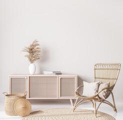 Wooden natural furniture in Scandinavian living room design, interior wall mock up